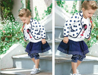 blazer leggings - Fashion Kids Clothing European Style Clothes Polka Dot Blazer InsideT shirt Skirt Leggings