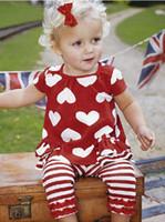 Wholesale Red Stripe Leggings - Girl's Short-sleeved suit girls peach heart T-shirt + stripes lace leggings Baby Clothes Set