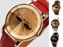 Wholesale Cute Crystal Watch - 5pcs Cute Moustache Fashion Men Women Leather Band Wristwatch Cone Facet Crystal Face Quartz Watches Ladies Casual Dress Bracelets Xmas Gift
