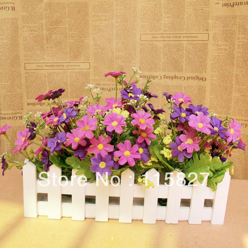 best white color wooden fence artificial flower pot wooden vase