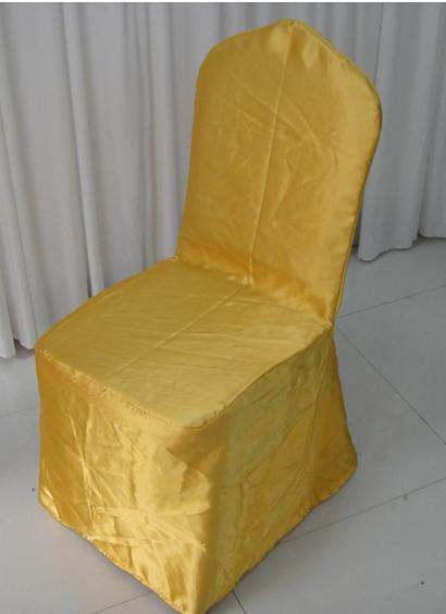Round Top Gold Banquet Satin Chair Cover With For Wedding