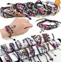 pulseiras de couro para mulheres venda por atacado-Misturar a ordem multi estilos 50 pcs * homens mulheres trança cordão de couro cruz coração pulseira pulseira de cânhamo surfista