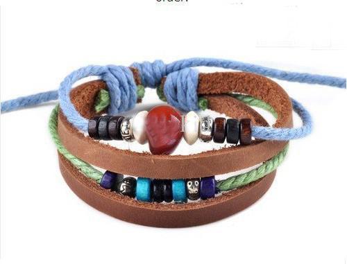 Ordine della miscela Multi stili * Uomo Donna Treccia Cordoncino di cuoio Bead Cross Heart Bracelet Wristband Hemp Surfer