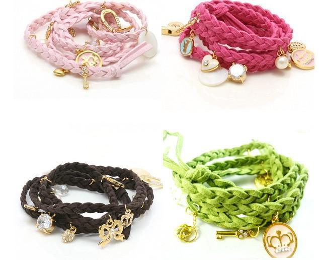 Seleção multi-cor de couro trançado corda pulseiras Multilayer Multi pingente Coreia Cashmere Bracele