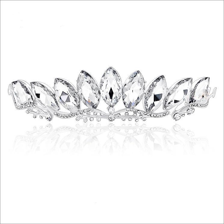 Victorian Shiny Bridal Jewelry Set Austrian Rhinestone Crystal Necklace Earrings Bridal Crown Tiara Wedding Jewlery Hair Accessories CN071