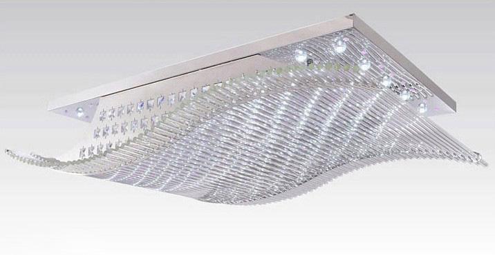 Moderne minimalistische LED K9 Crystal Rechthoekige Plafondlamp Lobby Kroonluchter Afstandsbedieningslicht