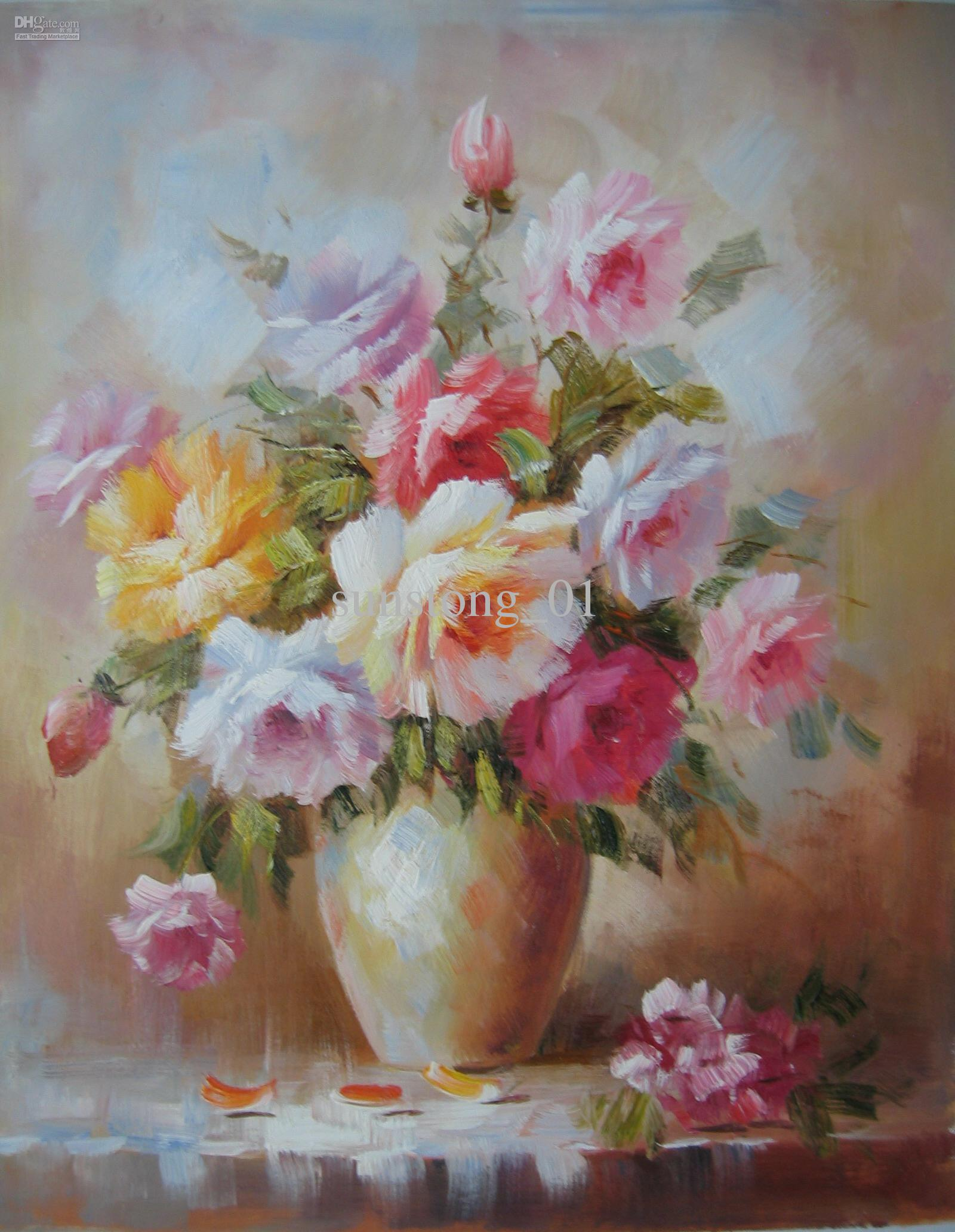 oil painting pink flower - photo #27
