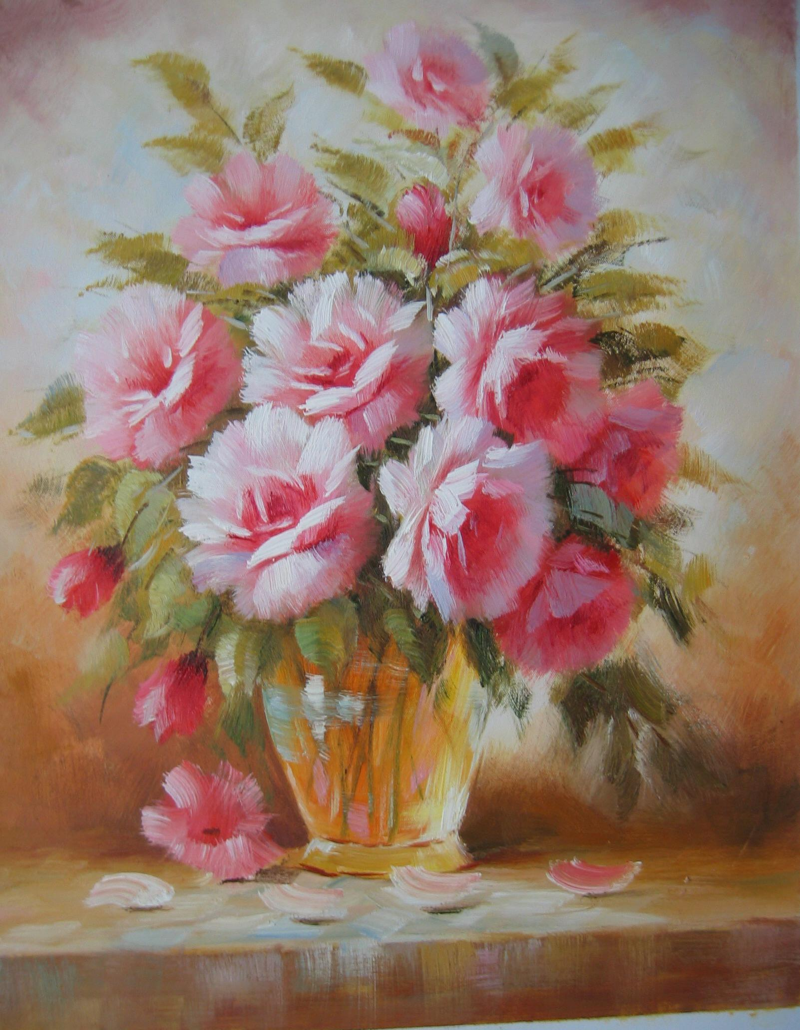 oil painting pink flower - photo #14