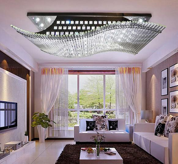 Modern Minimalist LED K9 Crystal Rectangular Ceiling Lamp Dining Room Chandelier Remote Control Ligh