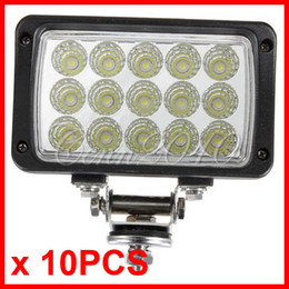 """Wholesale Power 4wd - 10PCS 6"""" 45W 15LED*(3W Epistar) Work Light Driving OffRoad SUV ATV 4WD 4x4 Spot Pencil   Flood Spread Beam 9-32V 3900lm Rectangle High Power"""