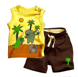 Wholesale Children Retail Designs - Retail New 2016 children suits baby Coconut tree kids babe 2 piece sets baby Coco design Sleeveless vest top shirt shorts pant trousers