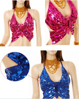 Wholesale Belly Dance Top Bra - New Sexy Womens Shining Bling belly dance costume Show Stage Butterfly Top sequin Bra 8colors