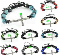 Wholesale Crystal Sideways Pave Cross - 100pcs Shambhala 10mm Crystal Side Ways Bracelets Sideways Cross Bracelet with Pave Crystal Beads
