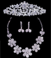 Wholesale Crystal Floral Necklace Set - Twinkling Floral Crystal Necklace Earrings Set Bridal Crown Tiaras Free Shipping