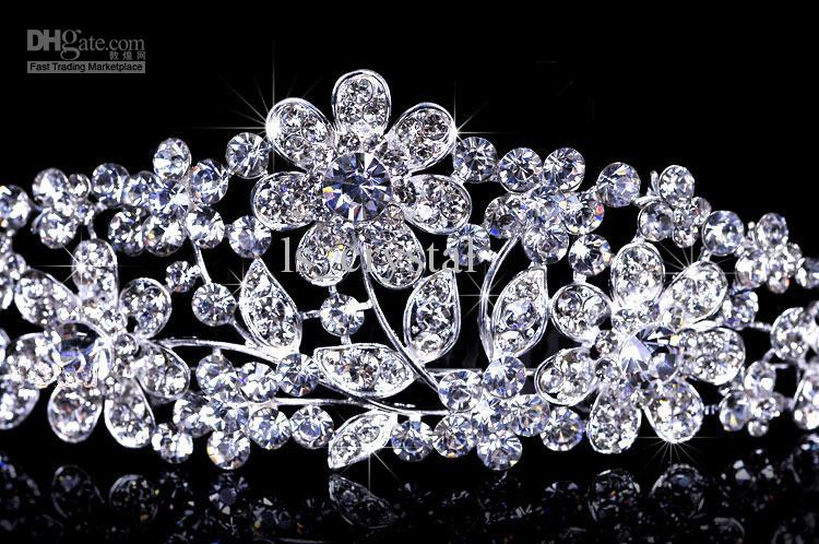 Shiny Strass Principessa Corona Tiaderas Bridal Bidand Forbice Capelli Clip Monili da sposa Sposa Bride Proms Vendita calda