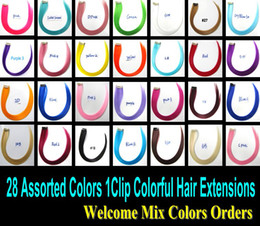 Wholesale Single Color Hair Extensions - Top Fashion Colorful Hair Highlight Single Clip in Hair Extensions Colored Hairpieces Hot for Party & Daily 28PCS   LOT
