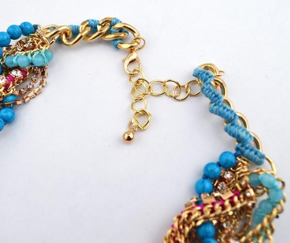 Catene placcato oro nuovo modo più strati di serpente Perle Strass Rope la collana girocollo Statement