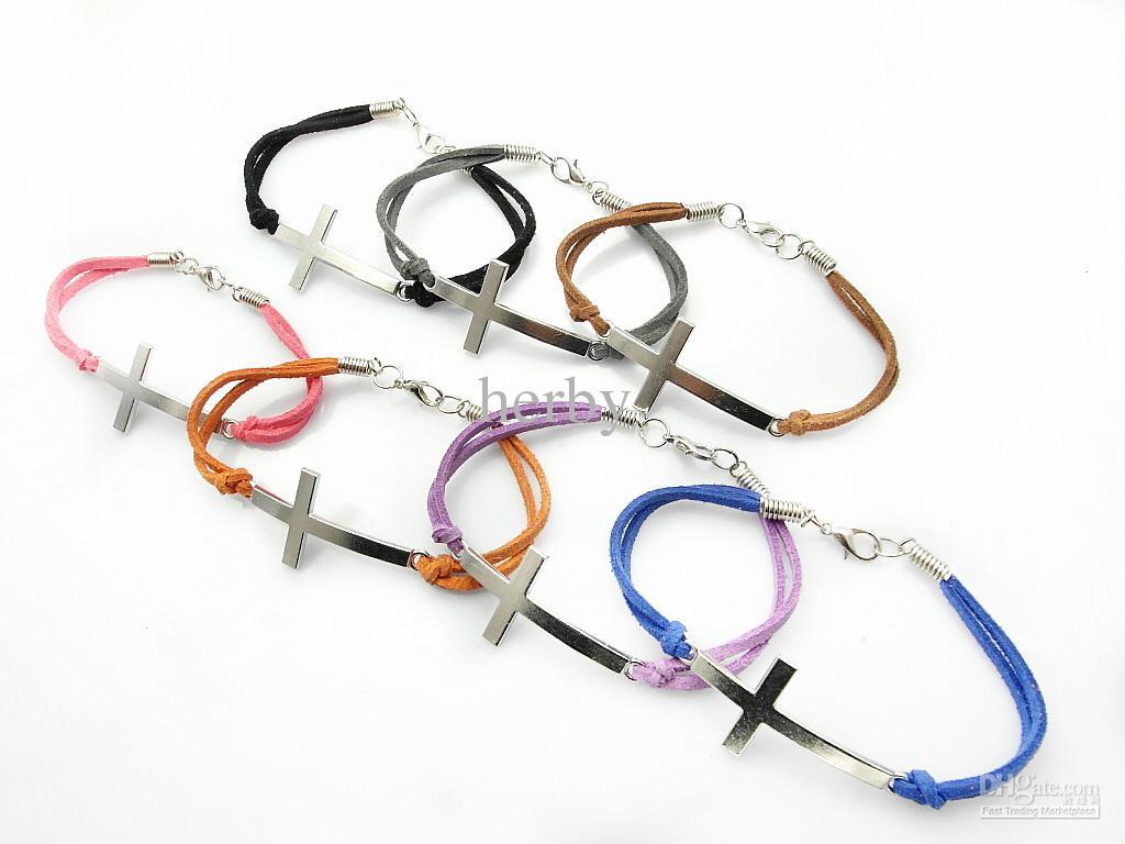 Il braccialetto multicolore di cuoio di fascino trasversale dei monili di modo le donne / libera il colore della miscela di trasporto
