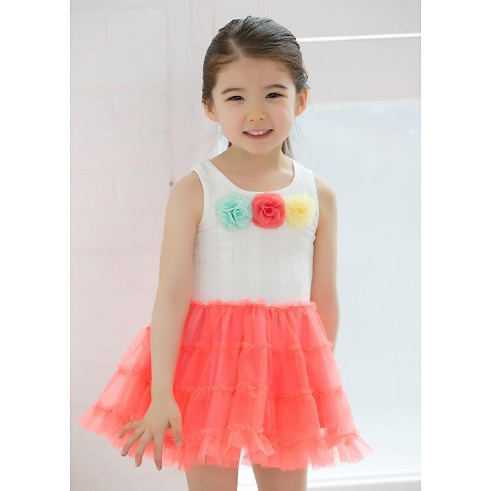 2013 Ragazze Abiti Fiori Canotta Vestito colorato Cake Dress Abbigliamento bambini