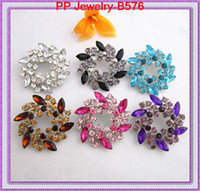 Wholesale Wholesale Bling Brooches - 6Pcs Mixed Colored Crystals Floral Round Brooch Bling Bling Wedding Brooch Pin High Quality Wedding Cake Pins