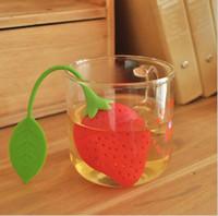 Wholesale Strawberry Tea Dipper - Strawberry shape silicon tea infuser strainer silicon tea filler bag ball dipper