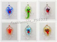 angeln glasperlen großhandel-Großhandelsfisch-Tierblume in der Masse Murano Glasperlenanhänger DIY Halsketten 12pcs