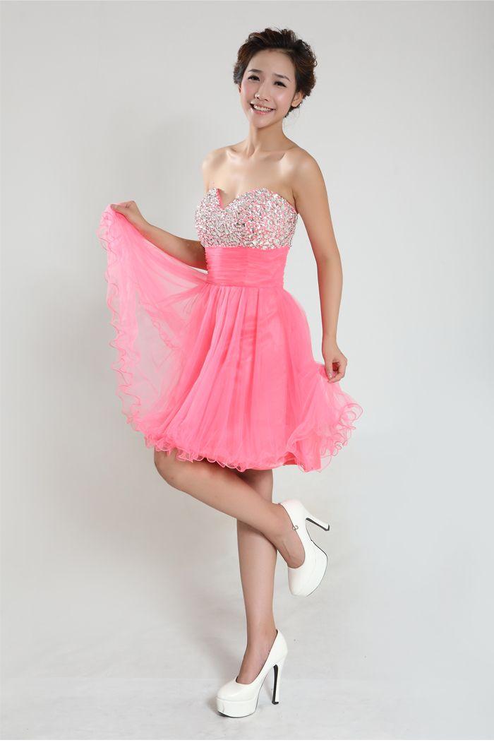 Compre Brillantes Bolas De Cristal Rosa De Tul Corto Atractivo Mini ...