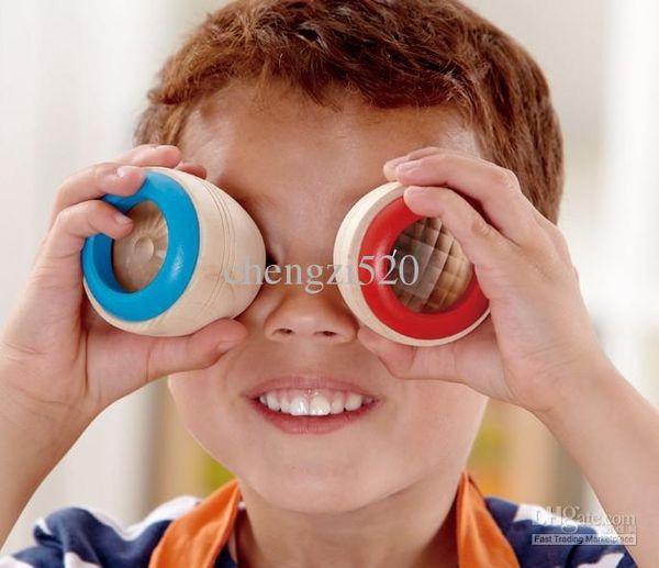 top popular Kaleidoscope Strange Baby Toys Magic Bee Eye Effect Prism Observation Wooden Kaleidoscope 2021