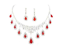 Wholesale Ruby Bridal - Free Crystal Rhine ruby Wedding Bridal Necklace Earrings Jewelry Sets 2015 Best Selling Red Color Crystal Rhinestone