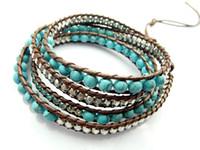 Wholesale Leather Beaded Wrap Bracelets Wholesale - 2016 6mm blue turquoise bead wrap bracelet new design handmade wrap immitation leather bracelet 5pcs lot