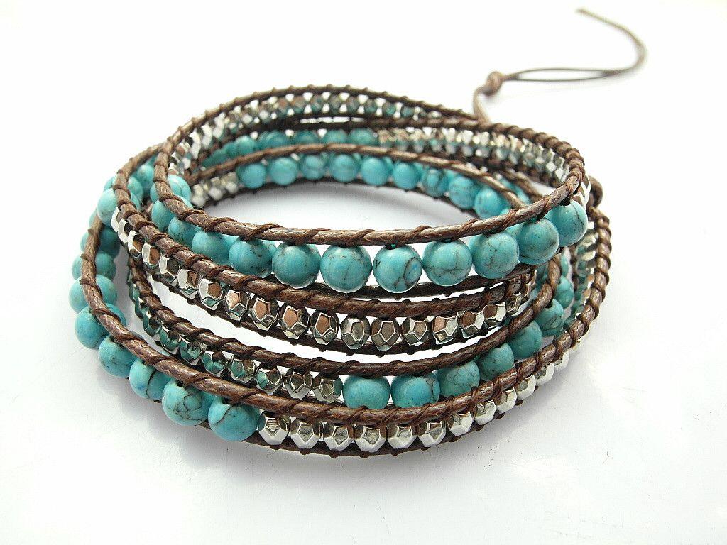 2016 6mm Blue Turquoise Bead Wrap Bracelet New Design Handmade Wrap  Immitation Leather Bracelet