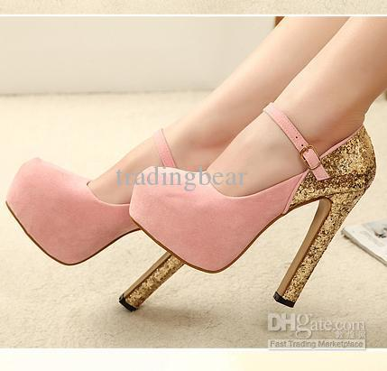 Bright Glittering Glorious Baby Pink Gold Sequin High Heels Mary ...