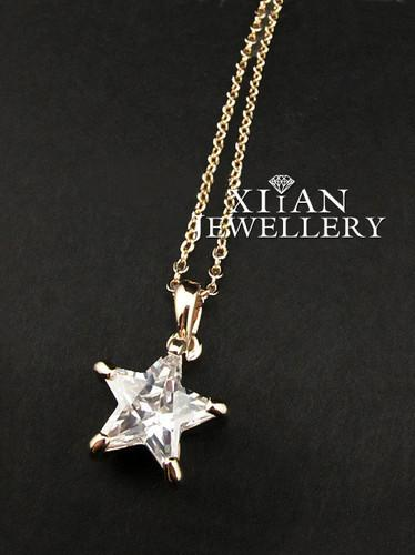 Wholesale hot sell free shiping pure crystal star pendant necklace see larger image mozeypictures Image collections