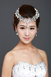 Wholesale Teardrop Pearl Jewelry - Bridal Flower Hair Comb Pieces Clear Rhinestone Crystal Teardrop Frontlet Jewelry Necklace Earrings