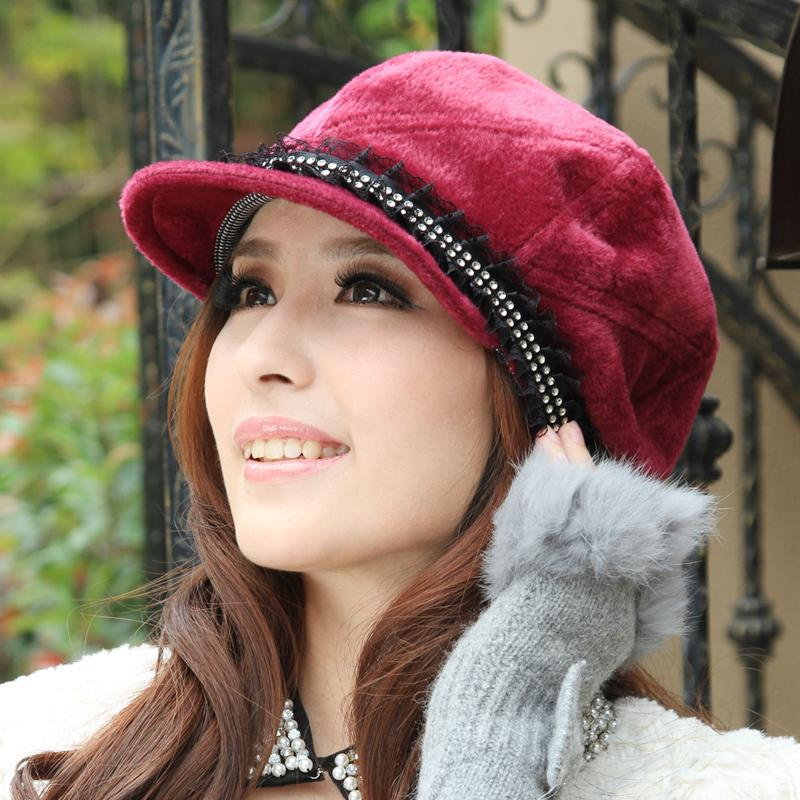 2018 Autumn And Winter Hat Women's Lace Octagonal Cap ...