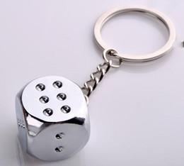 Wholesale Dice Keyring - free shipping zinc alloy dice key chain toy dice keyring key jewelry christmas gift promotion souvenir