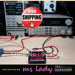 Wholesale Dc Digital Amp Meter Green - Digital Ammeter Ampere DC 0-20.0A Amp Panel Meter DC 4-30V Power Supply Red Blue Green LED Free Ship