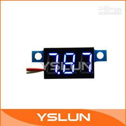 Wholesale Small Voltage Meter - 5 PCS LOT Ultra Small Digital Voltmeter 3.3-30V Blue Electron Voltage Meter LED Vehicles Motor Panel