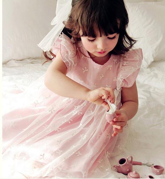 2013 Girl's Dresses Retro Princess Dress Embroidery Bows Summer Dress Children's Clothings