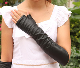 Wholesale Leather Gloves Lady Sexy - Long Leather Fingerless Gloves Ladies Sexy Faux Leather Gothic Fetish Clubwear Gloves Hip-pop Jazz Fingers L