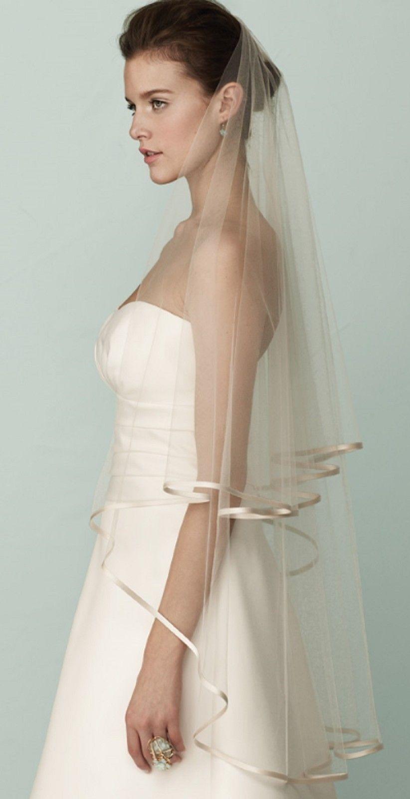 Hot 2T edged Ivory Wedding veil Simple Soft Tulle Net Bridal veils Best Price RL9431