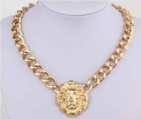 Wholesale Queen Head Necklace - Fashion women Punk Vintage Gold wide Chain Lion head Queen Avatar necklace Rihanna style #8012