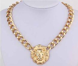 Wholesale Lion Head Necklace Wholesale - Fashion women Punk Vintage Gold wide Chain Lion head Queen Avatar necklace Rihanna style #8012