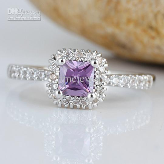 Lady Square Purple Amethyst Stone Band Right Finger Silver Ring Size 6 Wed J7646 Promotion