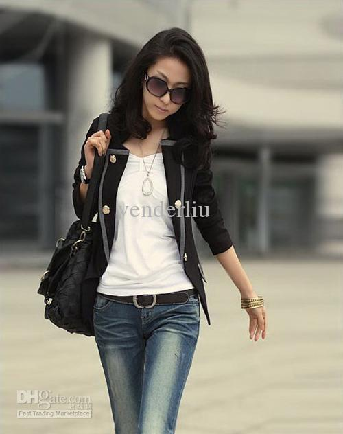 Fashion Women'S Casual Suit Coat Black Grey Spring And Autumn Ol ...