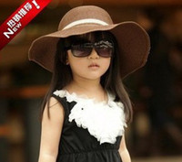 Wholesale Summer Baby Girl Sunhat - 2013 Baby Classical Caps Straw Sunhats Kids Daily Hat Girls Sun Hat Children Summer Hat 7373