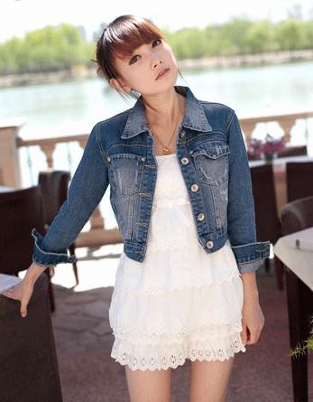 Fashion Women Outerwear Jackets Lapel Short Denim Jacket Coat ...