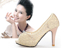 Wholesale Sandals Woman Shoes China - Sexy Women's Princess Lace High-heeled shoes waterproof hollow out sandals shoes made in China