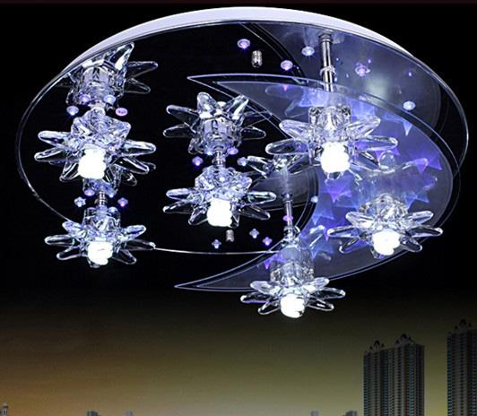 New modern fashion k9 crystal moon stars led ceiling lamp new modern fashion k9 crystal moon stars led ceiling lamp chandelier living room lights dia 50cm mozeypictures Gallery