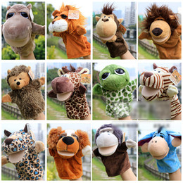 Wholesale Animals Hand Puppets - New Nici Hand puppets 18 designs forest animal hand puppet 10inch Tiger,Monkey,Lion,Deer Puppets